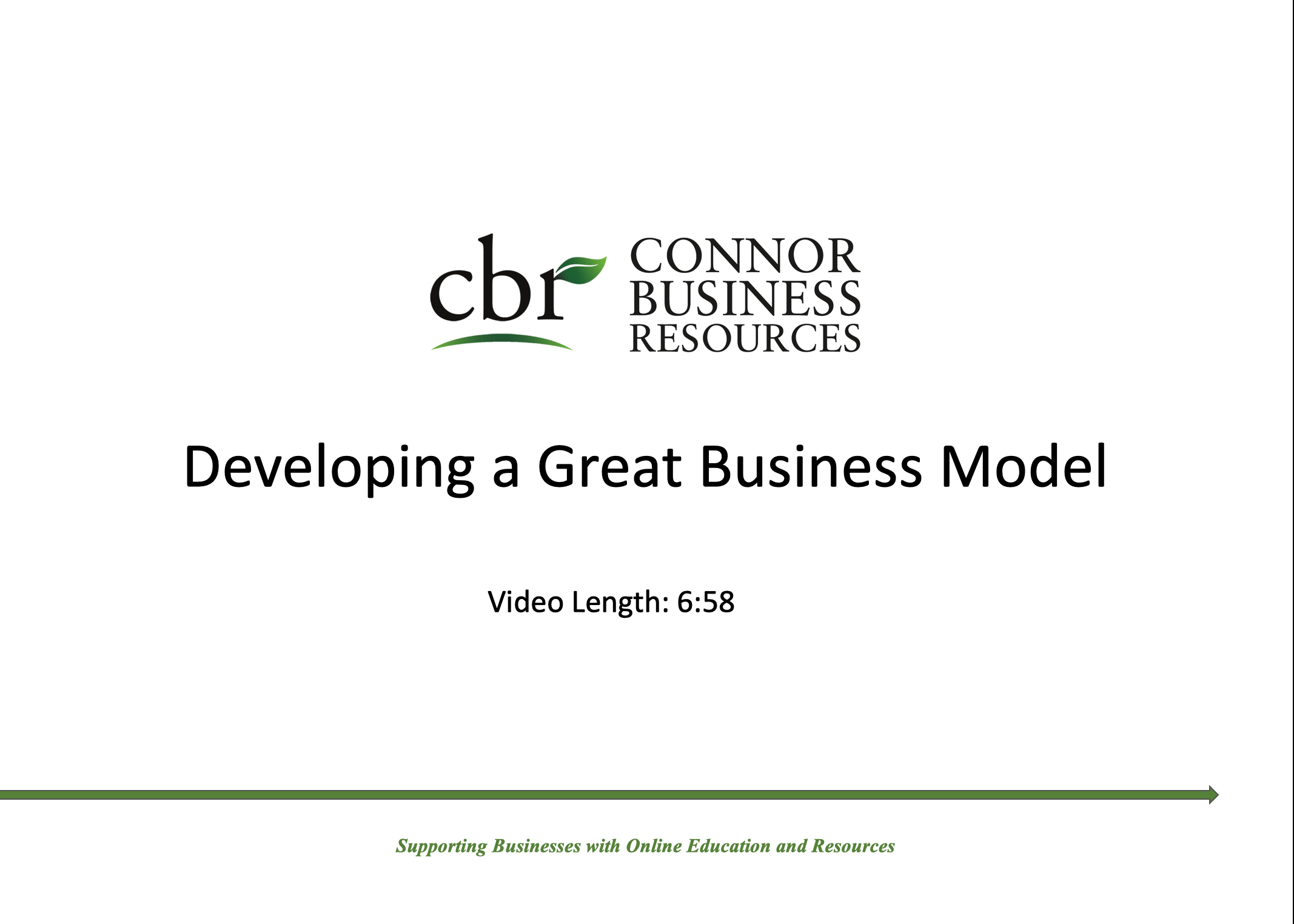 Developing a Great Business Model