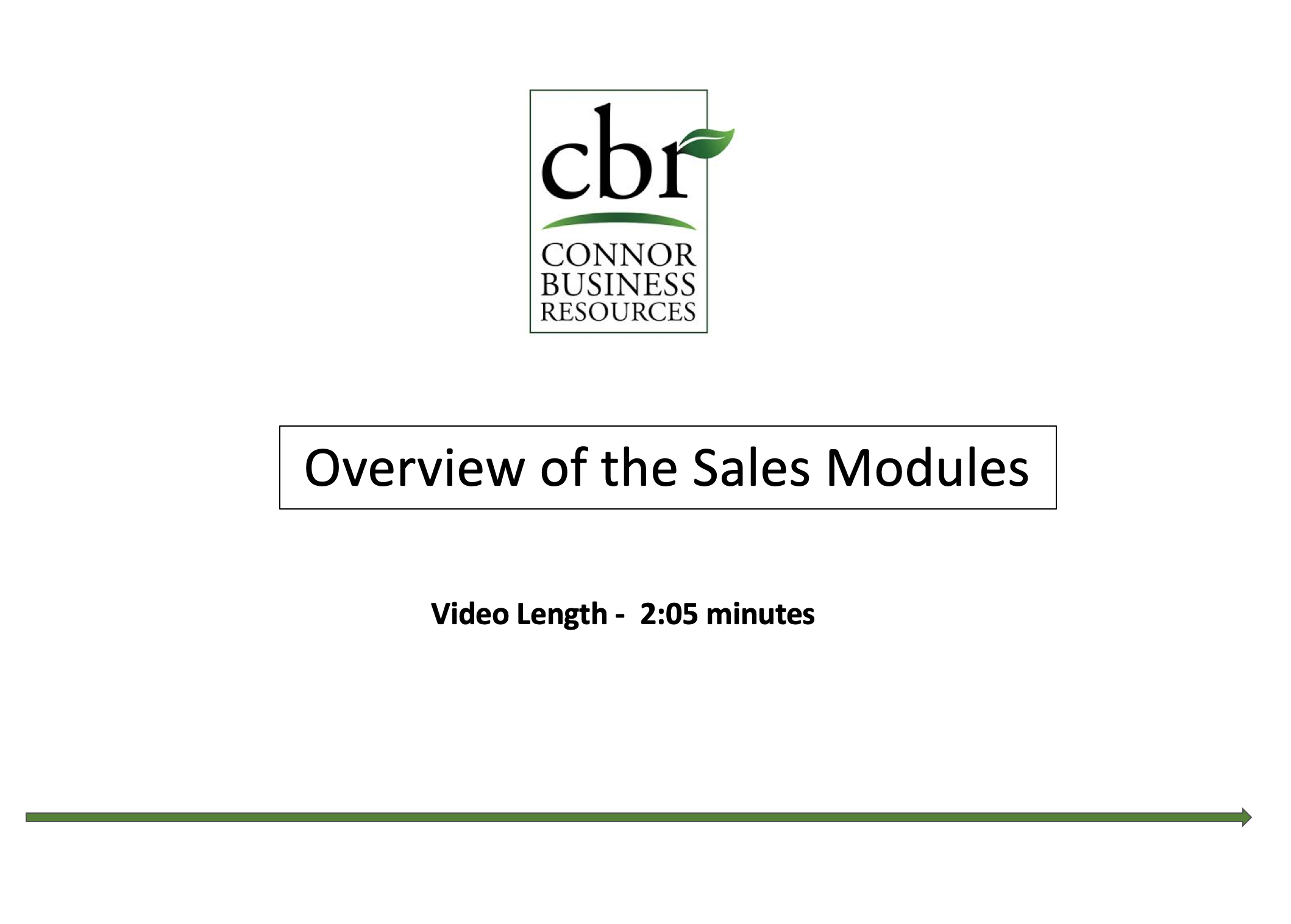 Overview of the Sales Modules